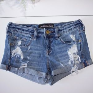 Express Blue Distressed Denim Cuff Shorts Size 00